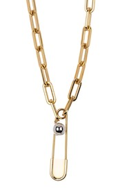 Burberry Chain-Link Necklace Safety Pin Necklace
