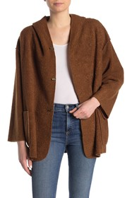 Max Studio Hooded Faux Shearling Knit Jacket