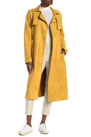 Sosken Faux Suede Belted Trench Coat