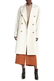 Sosken Faux Leather Sleeved Trench Coat