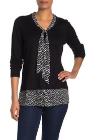 Adrianna Papell Long Sleeve V-Neck Twofer Sweater