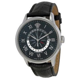 VersaceBusiness GMT Black Dial Leather Strap Autom