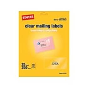 Staples Laser/Inkjet Shipping Labels, 2 x 4, Clear