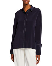 Co Wide-Cuffed Button-Front Blouse