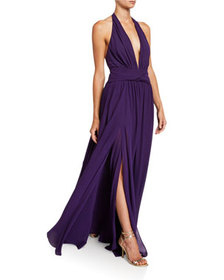 Dundas Silk Georgette V-Neck Gown with Removable C