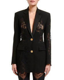 Versace Woven Lace-Insert Jacket