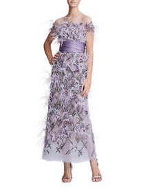 Marchesa Short-Sleeve Feather-Trim Tulle Illusion