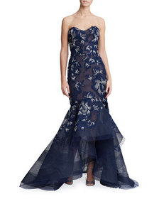 Marchesa Strapless Floral-Embroidered High-Low Gow