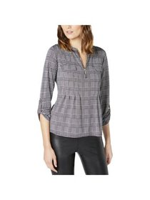 NY Collection Womens Petites Houndstooth Zip Up Bl