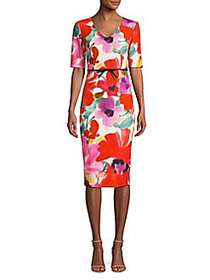 Camellia Blossom Smoothie Mid Century Dress RED MU