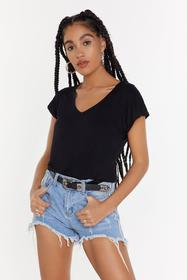 Nasty Gal Black Leave It With V Open Back Tee