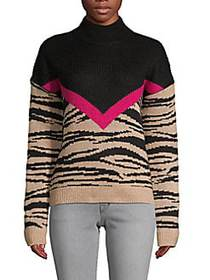 Colorblock Mockneck Sweater BLACK