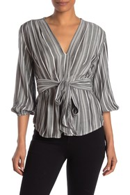 Max Studio Striped Woven Long Sleeve Top