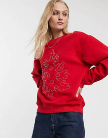 Monki embroidered Holidays tree sweat in red