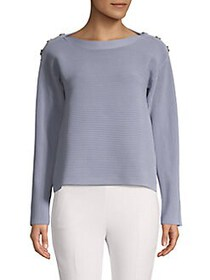 Donna Karan Ribbed Stretch-Cotton Sweater ANGEL BL