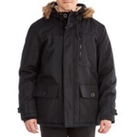 Mens Sherpa Lined Parka with Faux Fur Trim Hood