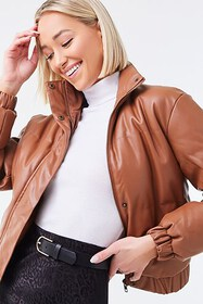 Forever21 Faux Leather Puffer Jacket