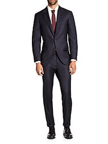Brunello Cucinelli Solid Gabardine Wool Suit NAVY