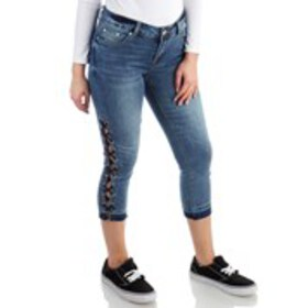 ONE 5 ONE High-Waist Side Lace Up Skinny Fit Denim