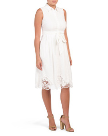 TAHARI BY ASL Petitie Embroidered Shirt Dress
