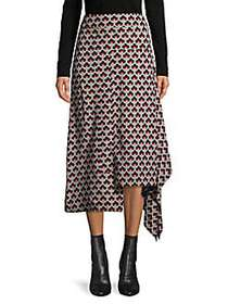 Marni Asymmetrical Silk Skirt CEMENT