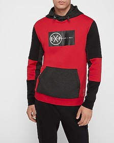 Express red color block graphic hoodie