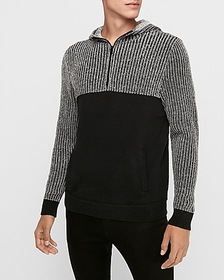 Express chunky plaited half zip hooded sweater