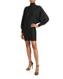 Alice + Olivia Bari Turtleneck Dolman-Sleeve Dress