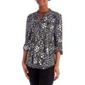 COCOMO Three-Quarter Sleeve Textured Floral Print