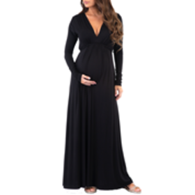 Maternity Long Sleeve Solid V-Neck Tie Back Maxi D