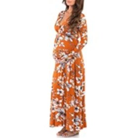 Maternity Long Sleeve Floral V-Neck Tie Back Maxi