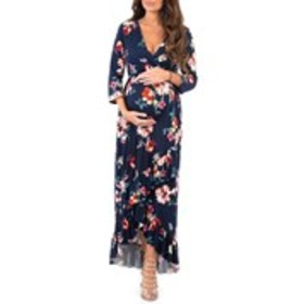 Maternity 3/4 Sleeve Floral Faux Wrap Ruffled Hi-L
