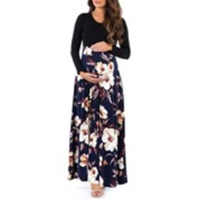 Maternity Long Sleeve Scoopneck Floral Skirt Maxi