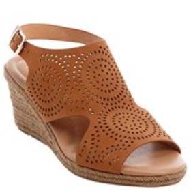 Womens Perforated Espadrille Wedge Sandals