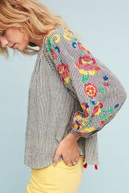 Anthropologie Embroidered Soleil Top