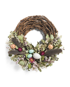 FLORAL TREASURE 18in Feather Your Nest Egg Wreath