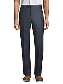 Hickey Freeman Flat-Front Wool Trousers NAVY