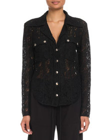 Chloe Lace Button-Front Blouse