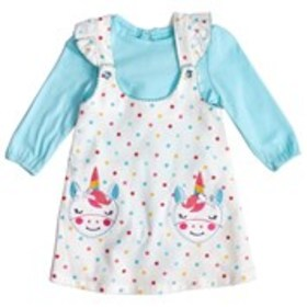 NANNETTE Baby Girls Unicorn Applique Dress with Lo