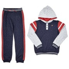 Boys Color Block Henley Hoodie with Joggers (8-16)