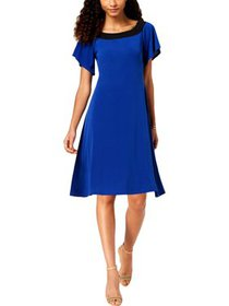 NY Collection Womens Petites Colorblock A-Line Cas