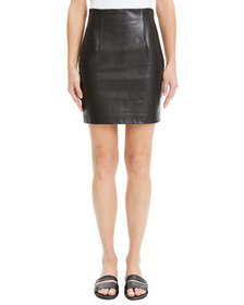Theory Fitted Leather Mini Skirt