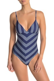 Splendid Longline One-Piece Chevron Stripe Swimsui