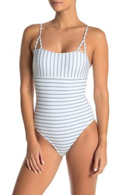 Splendid Pinstripe One-Piece Swimsuit