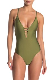 Ella Moss Plunging Neck One-Piece Swimsuit