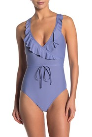 Ella Moss Ruffle Surplice One-Piece Swimsuit
