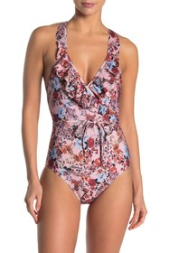 Ella Moss Printed Ruffle One-Piece Swimsuit