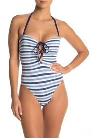Splendid Lace-Up Stripe One-Piece Swimsuit