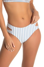 Splendid Side Cutout Stripe Bikini Bottoms