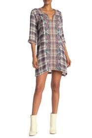 Johnny Was Claudine Embroidered Plaid Tunic Caftan